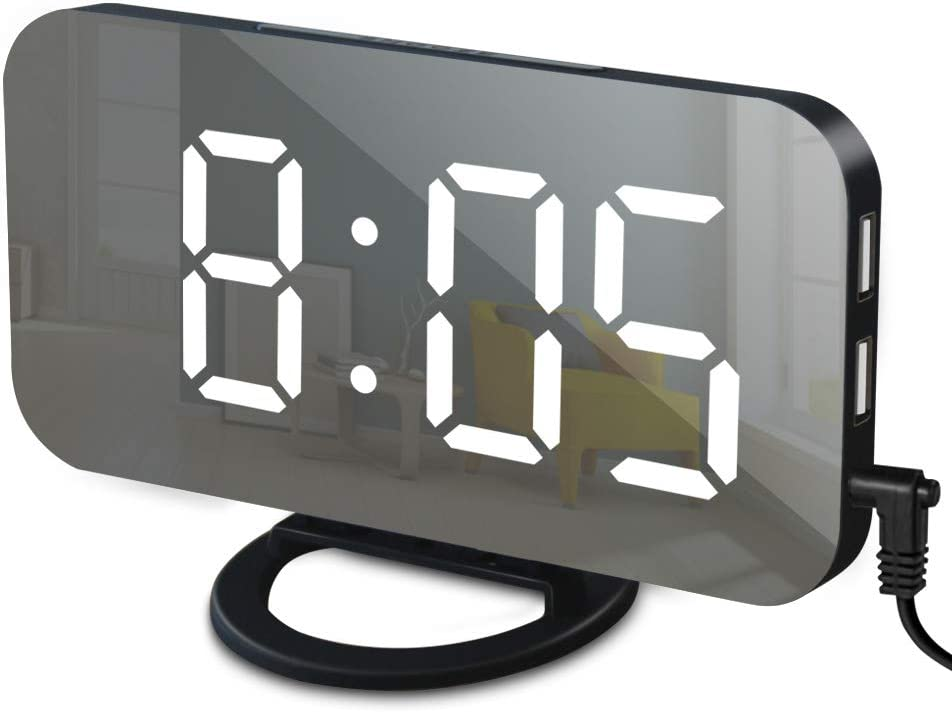GLOUE Alarm Clock with USB Charger, Digital Alarm Clocks for Bedrooms Large Mirror Surface, Easy Snooze Function, Dimming Mode, Auto/Manual Adjustable/Brightness Bedside Alarm Clocks (Black/White)