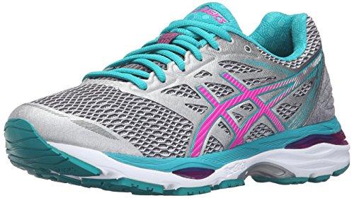 ASICS Zapatillas de correr Gel-Cumulus 18 para mujer, Gris (Silver/Pink Glow/Lapis), 6...