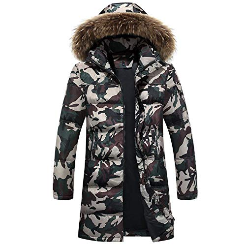 OP Winter Down Jacket Männer Langer Absatz Overknee-Camouflage Long Version XL Camouflage Army Green with fur Collar- 3XL