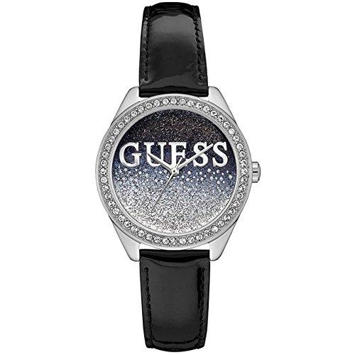 Guess Unisex Erwachsene Datum klassisch Quarz Uhr mit Leder Armband W0823L2