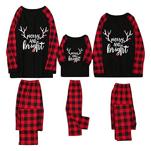 Beudylihy Weihnachten Familie Passende Kleidung Set Haustier Baby Kind Männer Frauen Pyjama Lässig Nachthemd Homewear Freizeit Hausanzug Merry Christmas Drucken Nachtwäsche Xmas Pyjama