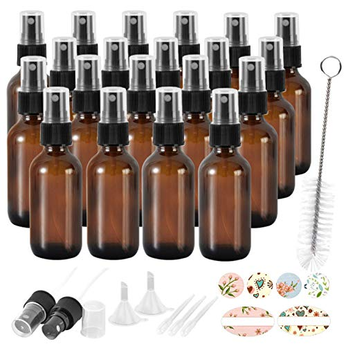 20 Pack 2 oz 60 ml Amber Glass Spray Bottles with Fine Mist Sprayer & Dust Cap for Essential Oils, Perfumes,Cleaning Products.Included 1 Brush,2 Extra Sprayers,2 Funnels,3 Droppers & 24 Labels.