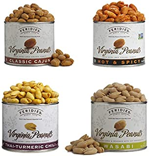 FERIDIES Spicy Super Extra Large Virginia Peanut Assortment - 9oz tins Kosher Cajun Spiced, Hot and Spicy, Thai Tumeric Chili and Wasabi Peanuts