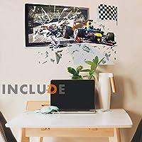 ウォールステッカー 3D 飛び出る 風景 トリックアート F1 F2 F3 フォーミュラ フラッグ 画面割れ