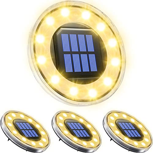 Biling Solar Disk Lights Outdoor Warm White, 12 LED Bulbs Garden Deck Solar Disk Lights Waterproof, Solar Garden Ground Lights Outdoor Walkway Deck for Patio Pathway Lawn Yard Driveway(4 Pack)