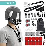 Vamson for Gopro Helmet Chin Mount Motorcycle Accessories Kit Front + Side Mount with Adhesive Pads for Go Pro Hero 8/7/Hero 6/HERO 5/Session5/4 Black White Silver/SJ4000/AKASO/APEMAN/DBPOWER and More