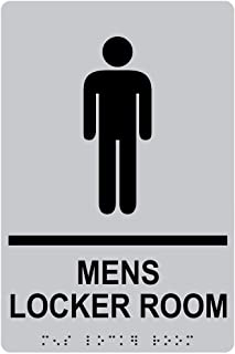 Mens Locker Room Sign, ADA-Compliant Braille and Raised Letters, 9x6 in. Silver Acrylic Plastic with Adhesive Mounting Strips by ComplianceSigns