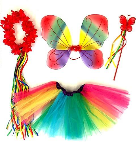 Tante Tina - Disfraz de Hadas Mariposa - Alas, Falda tutú, Varita mágica y Diadema - Rojo Multicolor con Diadema
