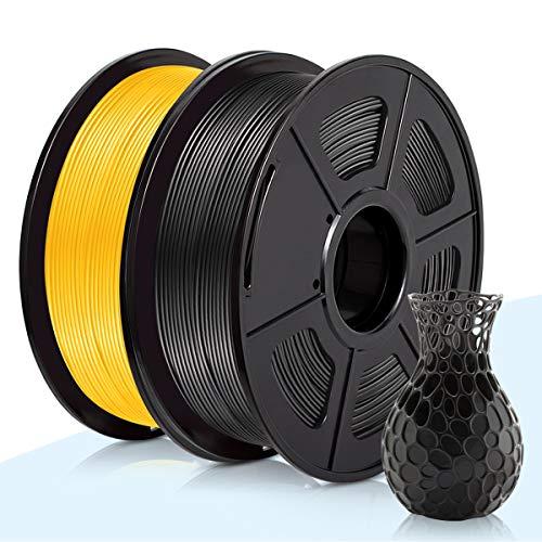 PLA Filamento Negro & Oro,3D Warhorse Pla Filamento de Impresion 3D,3D Printer Filament 1.75mm,Dimensional Accuracy +/- 0.02 mm,Polylactic Acid Material,1.75mm PLA,2KG(Spool)