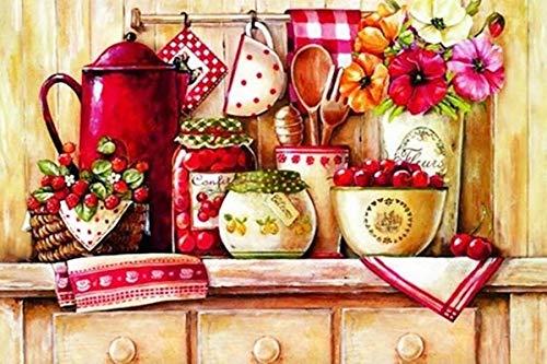 DIY para Colorear por números niña vivero decoración PBN Tetera roja para Colorear por números Pintura Lienzo Artes artesanía 40x50 cm sin Marco