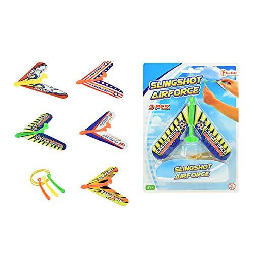 Toi-Toys 35784Z Abschuss Flugzeuge 3st. 3-VAR. Katapult Starter Flugspiel Flugzeug Flieger Slingshot Airforce Jet Segelflugzeug Leichtflugzeug Spielzeug für Kinder