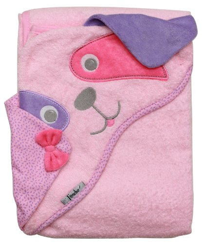 Frenchie Mini Couture Baby Infant Hooded Towel, Pink Dog, 100% Cotton Woven Terry, 40' x 30'