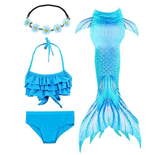 Jurebecia Baador Nias Baadores nia Traje de bao Baador De Sirena Disfraz De Princesa Bikini Nia Cosplay para Nadar Cola de Sirena Azul 4-5 Aos