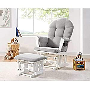 Gliding Rocking Chair with Ottoman Wooden Glider with Padded Cushions Nursery Solid Wood Modern Indoor Recliner Comfy Contemporary Comfortable Padded Arms Storage Pockets & eBook by BADA Shop