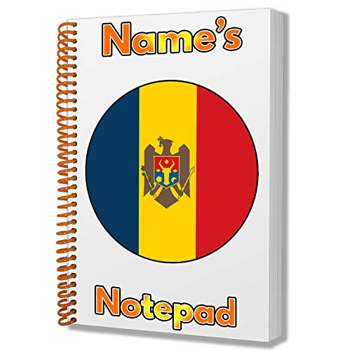 Gepersonaliseerd geschenk - Moldavië Vlag A5 Kladblok/notitieboekje - Cadeau - Verjaardag - Kerstmis - Kachelvuller - Geheime Kerstman - ADD elke naam