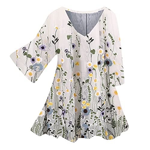 Tunika Damen Blumen Tops Langarm V Ausschnitt Knopfleiste Plissiert Bluse T Shirt Oberteil w0