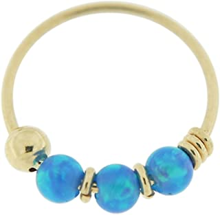 9 Karat Yellow Gold Triple Opal Bead 22 Gauge Hoop Nose Piercing Ring Jewelry