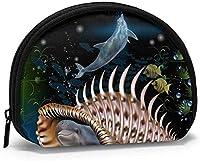 """女性用クジラ小銭入れ、ミニ収納バッグ、シェル型ウォレット、ミニ小銭入れ、小型ジッパー小銭入れ-4.7""""×3.5"""" -Whale2-OneSize"""