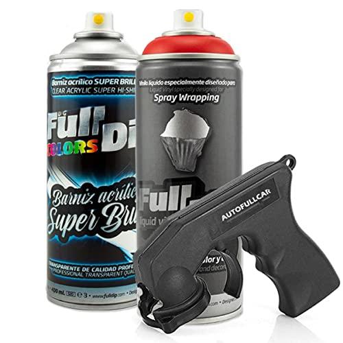 AutoFullCar - Pack Full Dip Bicicleta - 2 Spray (Color + Barniz Protector) - Vinilo Líquido FullDip - Cuadro Ruedas Bicicleta   Mountain Bike MTB (Rojo, Brillo)