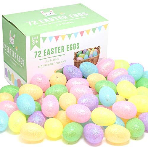 JOYIN 72 Pcs 2.5' Glittering Colorful Assortment Fillable Easter Egg Shell for Easter Egg Hunt, Basket Stuffers Filler, Filling Treats, Classroom Prize Supplies, Party Favor, and Colorful Assortment Fillable Shells