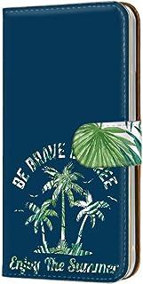 手帳型 カードタイプ スマホケース LG isai vivid LGV32 用 [パームツリー・ブルー] マリン サマー 迷彩柄 エルジー イサイ ビビッド au スマホカバー 携帯ケース スタンド tree 00r_148@02c