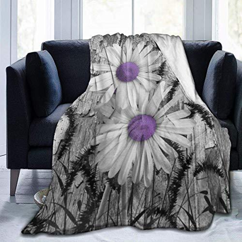 Decke für Kinder Teens Erwachsene Weiche Warme Lila Grau Weiß Gänseblümchen Blumen Schmetterling Schwarz Fuchsschwanz Gras Mikrofaser Ganzjahreszimmer Zimmer/Couch Bett Flanell, 80x60 Zoll