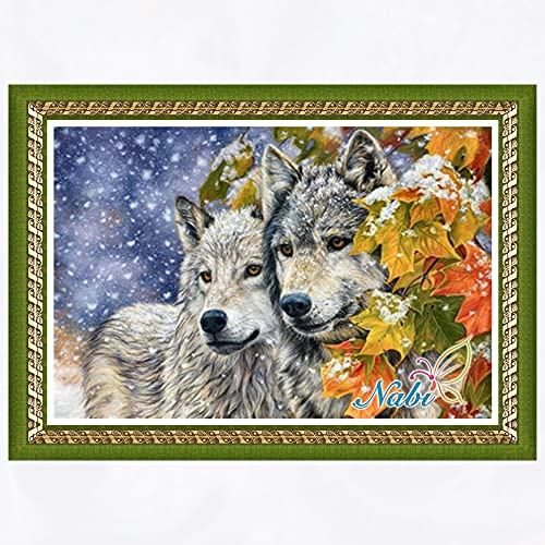 5D diy Kit de pintura de diamantes Animal Wolf Crystal Rhinestone bordado imagen decoración del hogar artesanía regalo diamante redondo 40x60cm