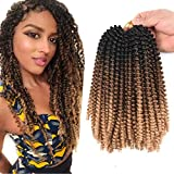 4Packs Spring Twist hair 8Inch crochet braids hair Synthetic Braiding Hair Extensions Bomb Twist Ombre Colors for Butterfly Locs Bomb Twist Crochet Hair (Black-dark brown-light brown)