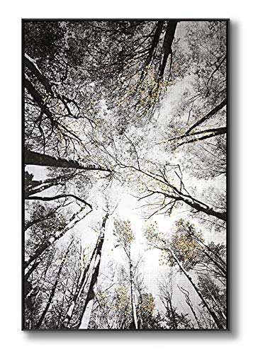 lamplig Forest Wall Art Large Grey Tree Pictures Black and White Gray Canvas Prints Hand Painted Oil...