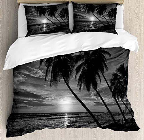 Tropical Duvet Cover Set, Coconut Palm Trees on Beach Bend by The Wind Horizon Over The Sea Picture, Decorative 3 Piece Bedding Set with 2 Pillow Shams, White Charcoal