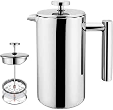 Reqo French Press Coffee Maker Stainless Steel 350ml Tea Filter Pot Press Plunger Mini Double Walled