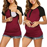 Ekouaer Women's Short Sleeve Nursing Tops Side Ruched Breastfeeding T-Shirt (Wine Red L)