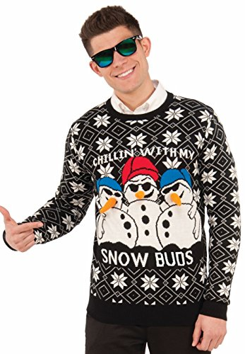 Forum Men's Ugly Christmas Sweater, Snow Buds, Black/White, Large