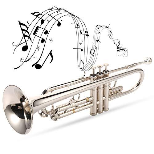 Keenso Trompete, Bright Silver Brass Bb Trompete Makellose authentische Trompete mit versilbertem Mundstück