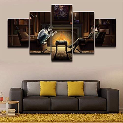 Stampa su Tela HD Stampa 5 pezzi di Note animate Poster Quadri modulari per la decorazione domestica di Quadri modulari per camerette per Ragazzi e ragazze No Frame