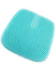 YIYU ゲルクッション 2020最新版 二重 無重力クッション 座布団 ハニカム構造 腰痛対策 通気 姿勢矯正 体圧分散 座り心地抜群 蒸れない 水洗い 在宅勤務 オフィス 車 椅子用 洗えるカバー付き (XL:47*44CM)