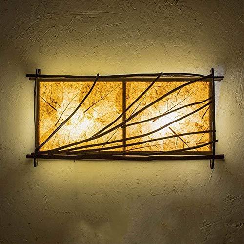 Lámparas de pared industriales, Estilo ligero de la pared de la vendimia creativa rústica 2 luces de la cortina de madera hechos a mano la lámpara de pared de la teca de la hoja de la lámpara Titular