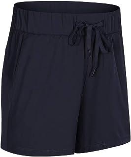 Yoga Clothing Spring and Summer Sports Shorts Women Loose Simple Elastic Belt Running Fitness Shorts,Dark Blue(8)