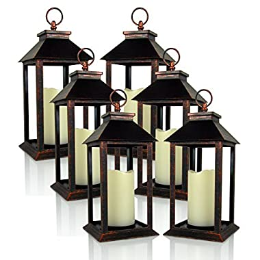 BANBERRY DESIGNS Decorative Lantern - Set of 6 Brushed Brass Decorative Lantern with a Flameless LED Pillar Candle and 5 Hour Timer - Outdoor Lighting - 13  H