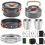 Tuimiyisou Utensilios de Cocina de Camping Kit Pan Pot Kettle Set Productos de Acero Inoxidable para cocinar al Aire Libre y Picnic Naranja