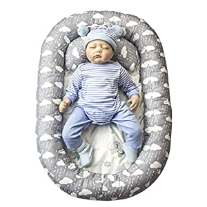 vocheer Baby Bassinet Bed, Baby Lounger Bed Portable Sleeping Crib Soft Breather Mattress with Lace for Newborn 0-8 Months, Cloud