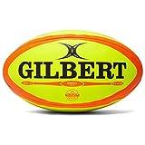 Gilbert Omega - Ballon de Match de Rugby Fluoro/Orange - taille Size 5