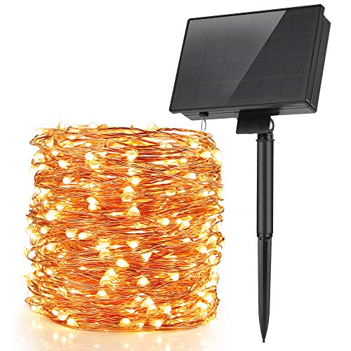 Moobibear Upgrade Solar Powered String Light 99ft Copper Wire Lights, Warm White 300 LED Fairy Lights, Indoor Outdoor Waterproof Solar Decoration Lights for Gardens, Home, Dancing, Party, Christmas