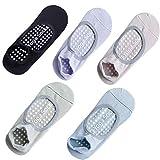 Rutschfeste Yoga-Socken, Trampolin-Socken für Damen, 5 Paar