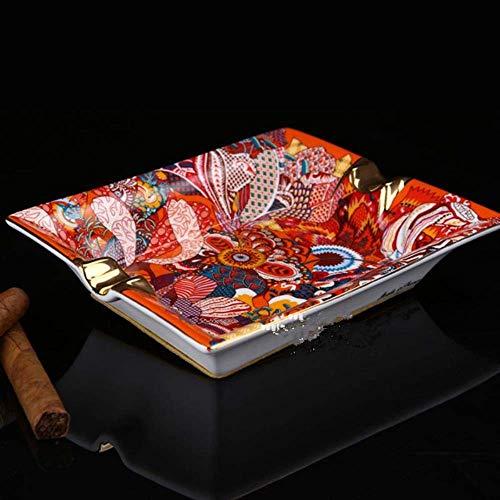 FHKBK Cenicero Cigarro Cerámica Hueso Patrón Escolar Abstraccionista Rojo Elegante
