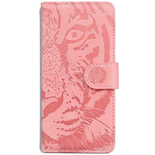 Blllue Wallet Hülle Compatible with Motorola G Stylus 2021, Embossed Tiger Pattern PU Leather Phone Cover for Für Moto G Stylus 2021 - Pink