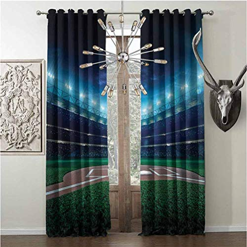 hengshu Creature Design Soundproof ShadeSports Decornoise-Proof Curtain Professional Baseball Field at Night with Spotlights Playground Stadium League ThemeW108 x L84 Inch Green Blue