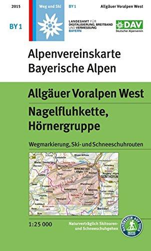 Allgäuer Voralpen West, Nagelfluhkette, Hörnergruppe: Wegmarkierung, Ski- und Schneeschuhrouten: mit Wegmarkierungen und Skirouten (Alpenvereinskarten)