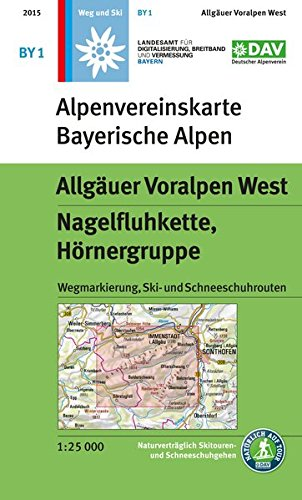 Allgäuer Voralpen West, Nagelfluhkette, Hörnergruppe: Wegmarkierung, Ski- und Schneeschuhrouten (Alpenvereinskarten)