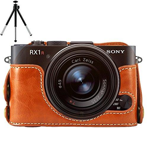 First2savvv XJPT-RX1R-D09G6 marrón Funda Cámara cuero de la PU cámara digital bolsa caso cubierta para Sony RX1 DSC-RX1 RX1R + Mini Tripod